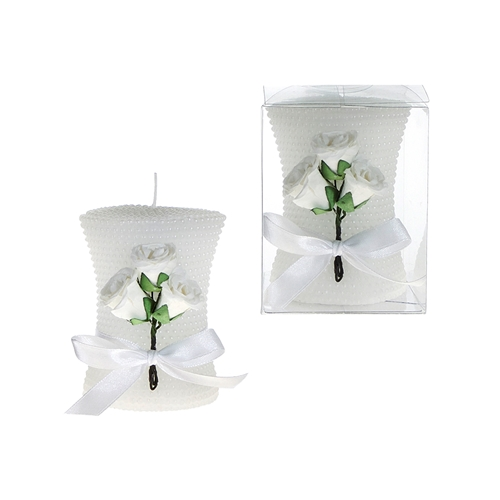 "2.5"" x 3"" Pearl Unscented Pillar Candle with Rose in Clear Box - White"
