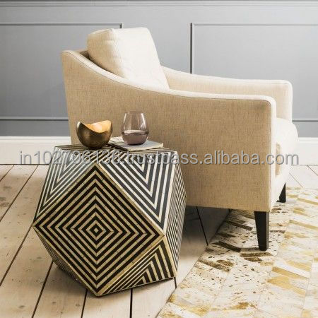 stripes bone inlay table, Black & white inlay table , Modern coffee tables