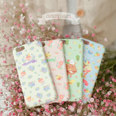 Flower character pattern's Flip phone case cover/ Peach Pink, Lemon Yellow, Light Green, Sky Blue/smart phone case