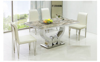 minimalist new stainless steel marble dining table