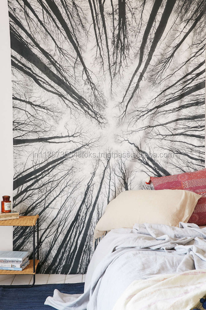 BEAUTIFUL BLACK AND WHITE URBAN OUTFITTERS FOREST TAPESTRY/WALL HANGING IN TWIN SIZE