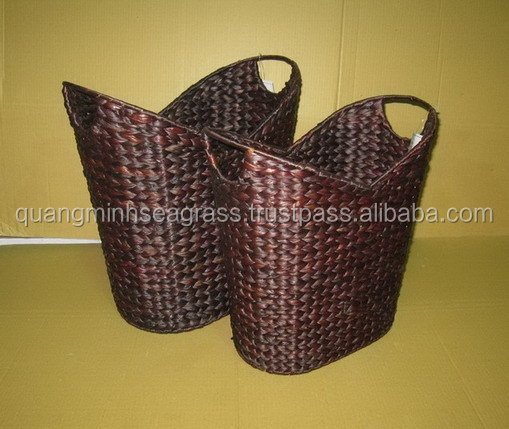 Decorative hand woven water hyacinth food basket straw paper waste bin basket made in Vietnam