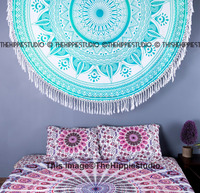 Hippie Indian Green Star Ombre Mandala Roundie wholesale Tapestry Round Beach Yoga Mat Bohemian Home Decor