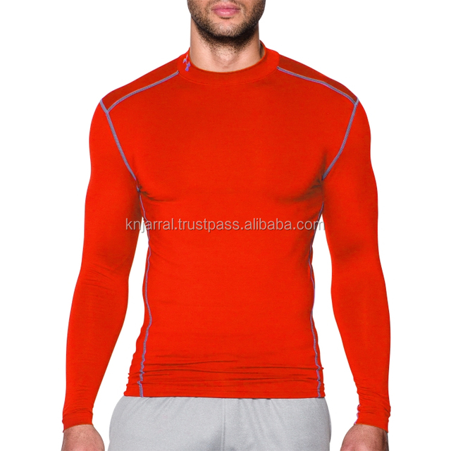 red custom printed men compression t shirts