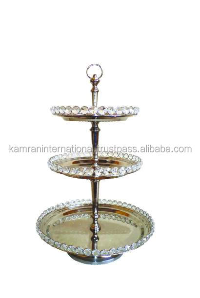 SILVER PLATED BEADED 3 TIER WEDDING CAKE STAND, FANCY WEDDING FRUIT STAND