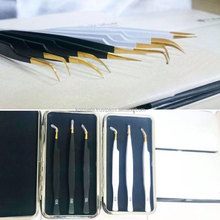 New Eyelash Extension Tweezers Straight & Curved Gold/Black Printed