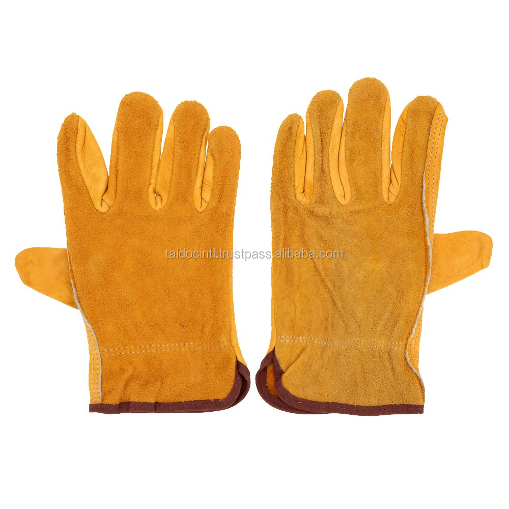 Goat & Sheep Skin Leather working Gloves with interlock back side / professional Working Glove
