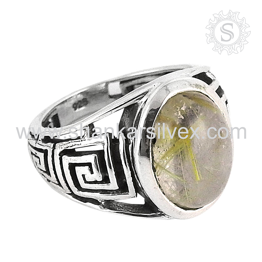 Emanation Golden Rutile 925 Sterling Silver Ring, Wholesaler Silver Jewelry, Silver Jewelry Suppliers