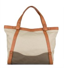 canvas leather handle bag