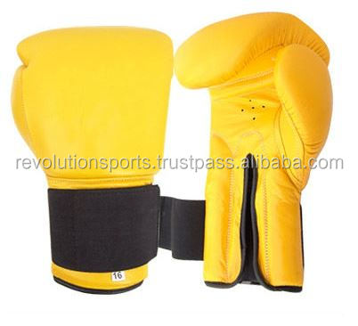 professional boxing gloves real leather boxing gloves Yellow color for training and competition