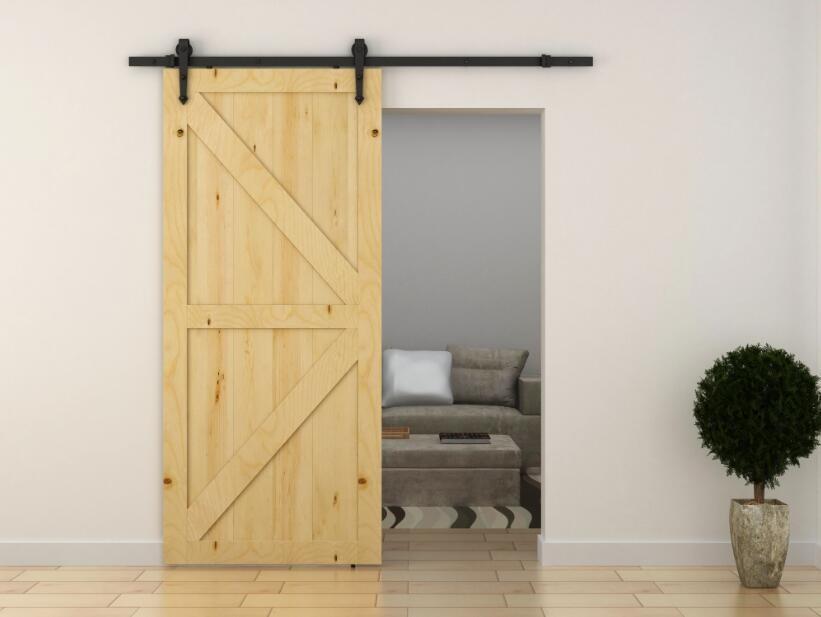 Rustic black sliding cheap garage panel track kit barn for Cheap sliding barn doors