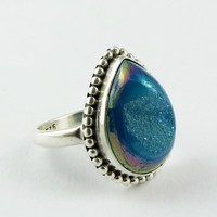 Mysterious !! Blue Druzy 925 Sterling Silver Ring Size-8.0 US, 925 Silver Ring For Beautiful Fingers, Discounted Silver Jewelry
