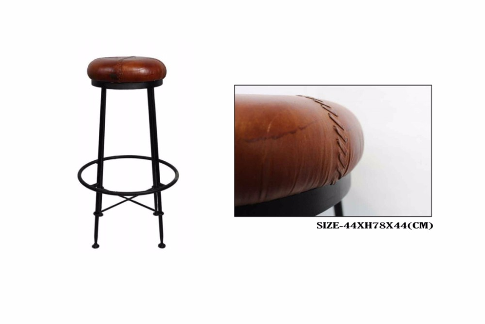 INDUSTRIAL DESIGNER IRON LEATHER BAR STOOL