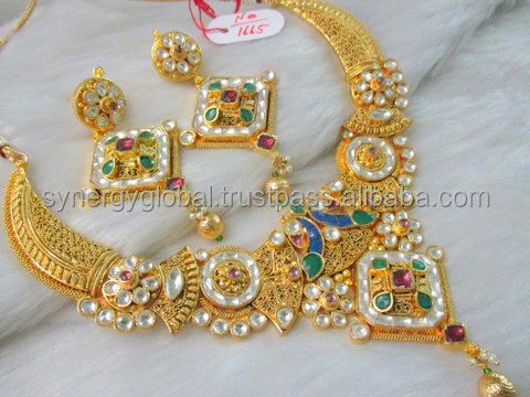 South indian wedding wear jewellery - Wholesale One gram gold plated necklace set - Traditional polki stone imitation jewelr