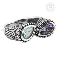 scrumptious Blue Topaz, Amethyst Gemstone Silver Ring Online Fashion 925 Sterling Silver Jewelry Supplier Indian Jewellery
