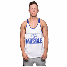 White & Dark Blue Colors Two Tone Gym Bodybuilding Muscle Fitness Singlets Stringer Vests Tank Tops