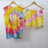 Tie dye dress tankini boho shorts with tassel lace ladies top sets wholesale