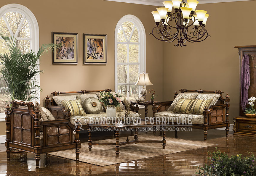 High level Elegant Living Room Italian Royal Design solid wood carving fabric Sofa