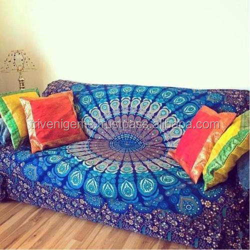 Blue Indian wholesale mandala tapestry 100% cotton wall hanging bedspread/Sofa India Printed Mandala throw Tapestries