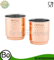 2-Ply Hammered Copper & Stainless Steel Whiskey Tumblers (Set of 2), 11 oz