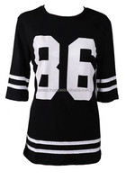 Oversized 86 American Baseball Tee T-shirt Top Varsity Loose Dress Women's Shirt