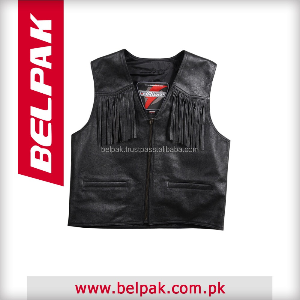 Motorcycle Leather Vest with zipper closure and two front pockets