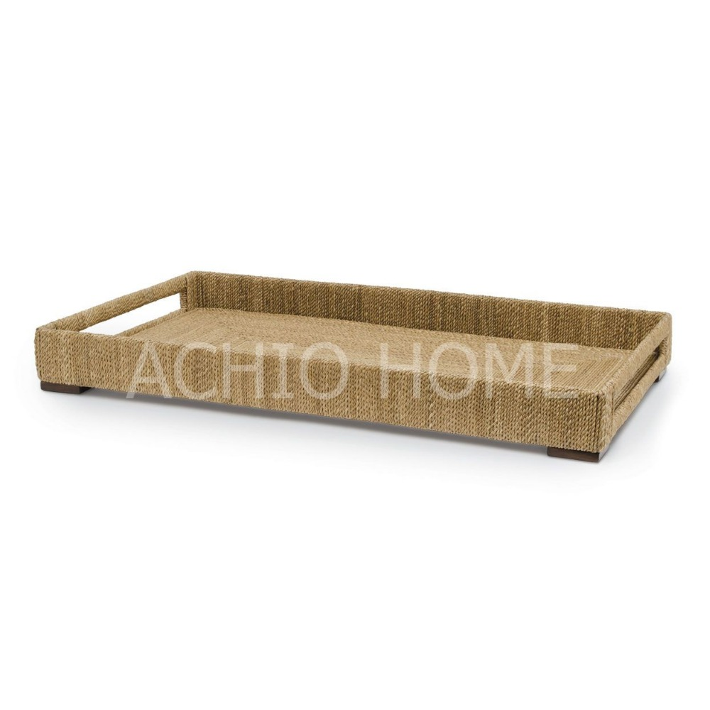 Factory wholesale decorative home antique craft abaca tray new design