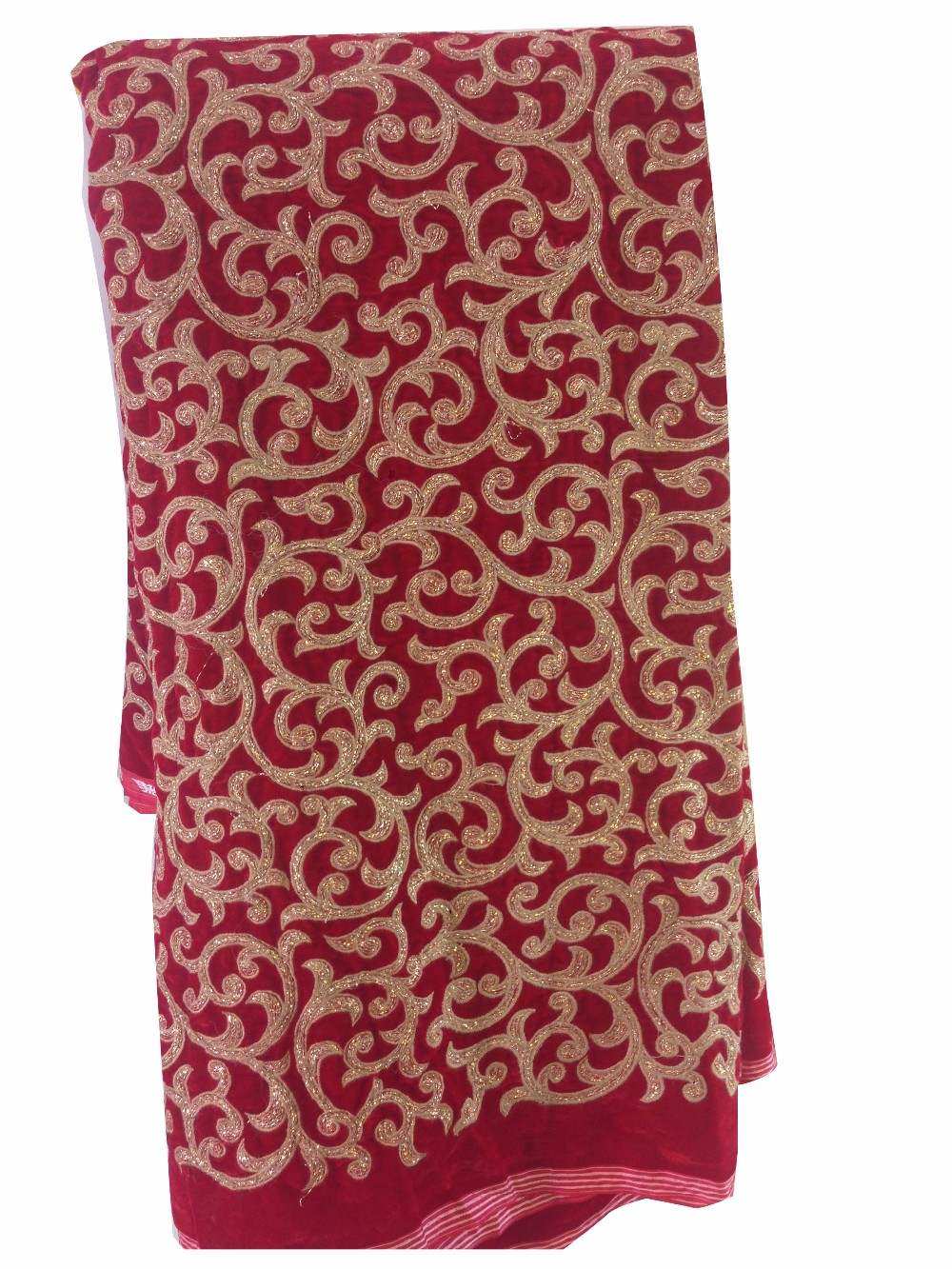 Ultra Soft Red velvet Embroidery wedding indian wholesale fabric; best selling fabric for women apparel clothes, bags F0005
