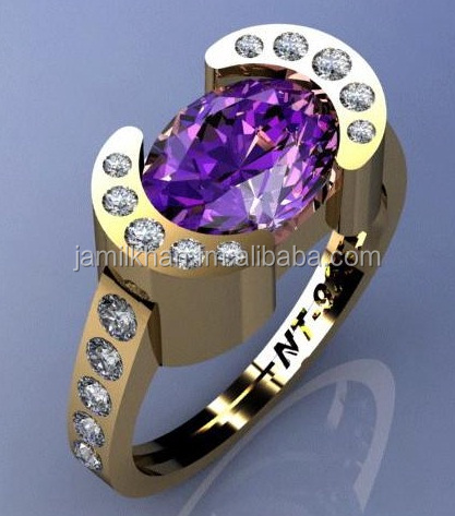 Amethyst Ring ( 925 Sterling Silver with Rose gold plated )