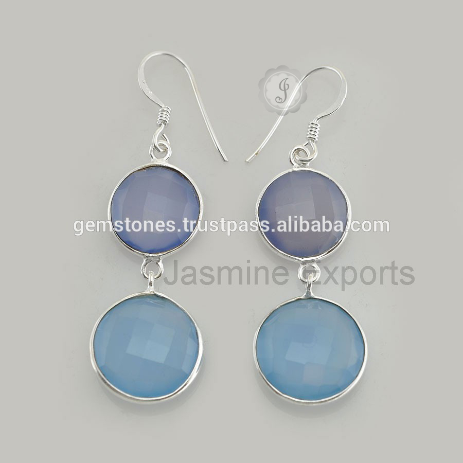 Semi Precious Gemstone Silver Earrings For Women For Wholesaler