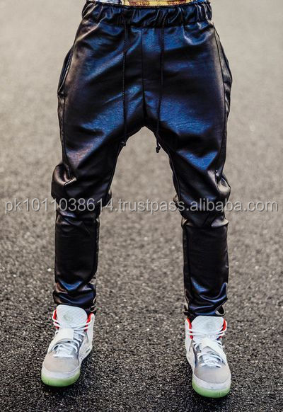 Custom sweat jogging pant artificial leather gay leather pants