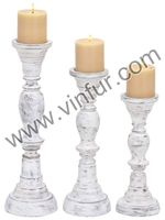 Antique Whitewash Distressed Finish Candle Holder