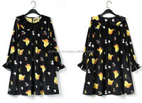 Beautiful chicken printed dress, black velvet felt dress, vintage style printed dress