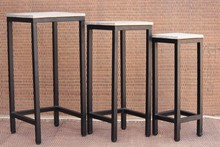 Recycled Wooden Set of 3 Nesting Stool Bar Stool