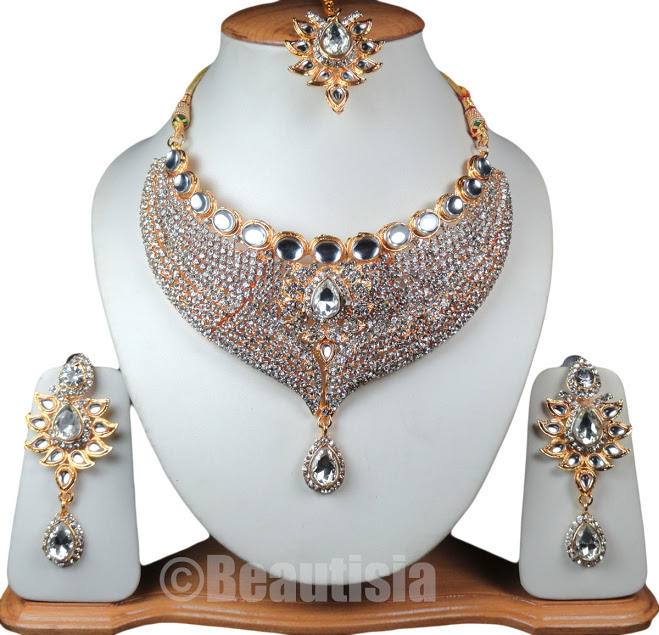 Bridal Indian Jewelry Bollywood Style Necklace Set White Color