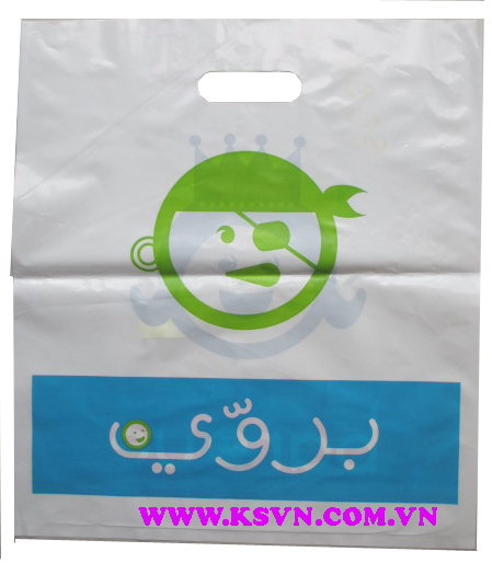 HDPE die cut handle plastic bags with cheap price made in VietNam