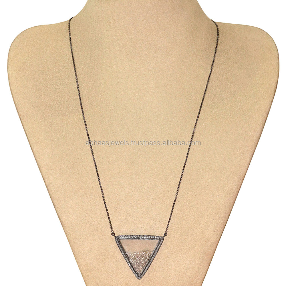 Crystal Shaker Necklace 925 Sterling Silver Chain Loose Diamond Gemstone Triangle Necklace Wholesale Fashion Jewelry