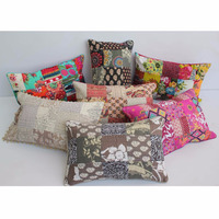 Cushions Home Decor Pillow Print Patch Kantha with Pom Pom Wholesale Pillow Inserts Vacuum