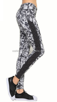 Ladies High Waist Printed Stretchy Compression Fitness Yoga Sport Active Trainning Cropped Leggings Ci-36