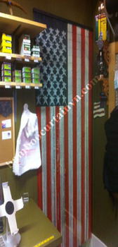 Super installation bamboo beads curtain painted in Vietnam US flag
