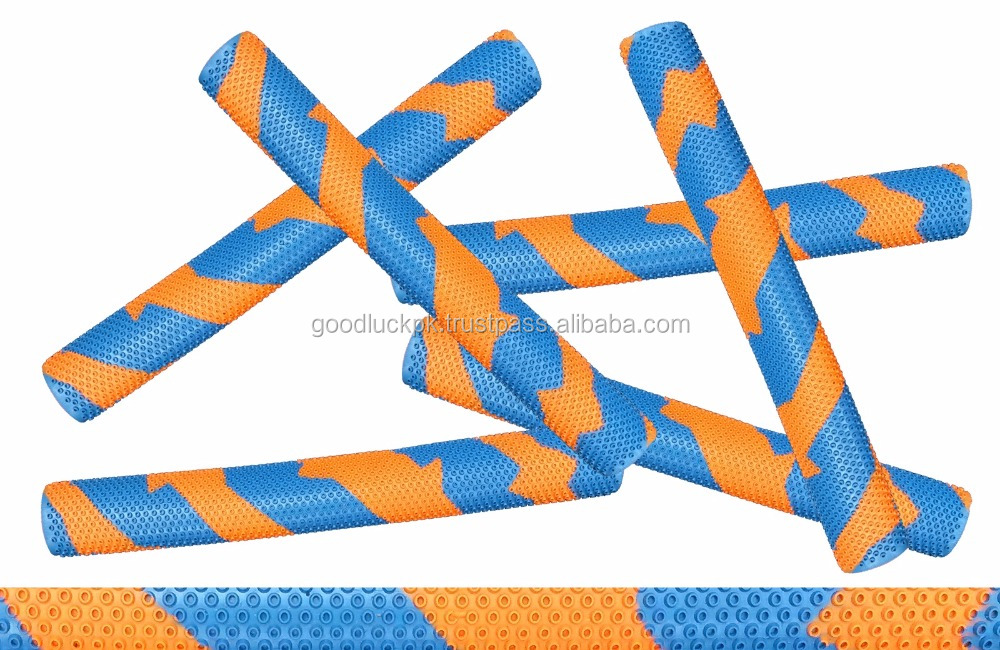 sky blue and orange cricket bat grips - Quality label - Simple hard ball bat/
