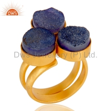 Wholesale Purple Druzy Gemstone Ring Gold Plated Handmade Brass Ring Manufacturer Women Fashion Jewelry