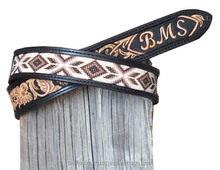 Custom made Leather belts with beaded insert