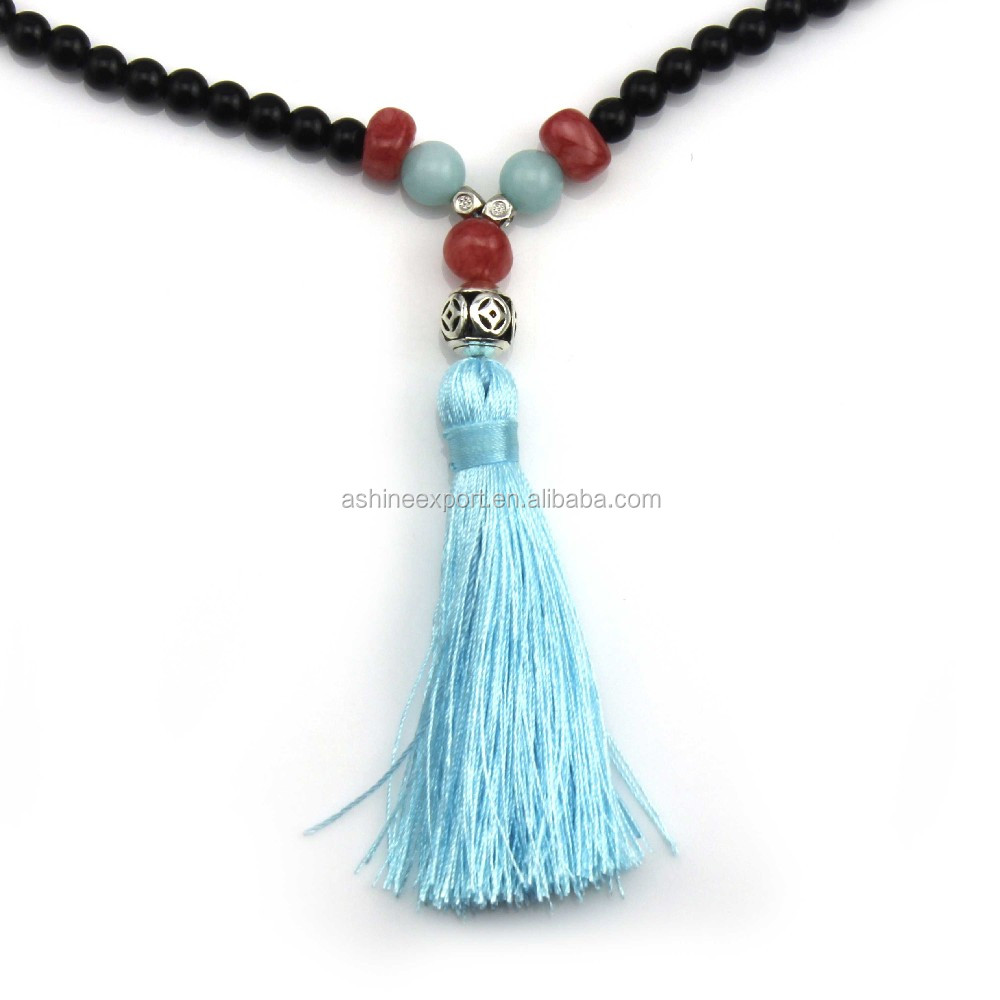 Original Natural Turquoise Wood Beads Long Tassels Beaded Necklace