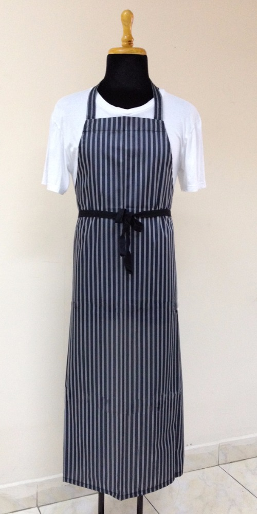 The latest and cheapest model - Polyester fabric Blue stripes apron