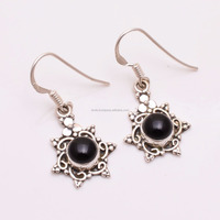 925 Silver Earrings Black Onyx Gemstone