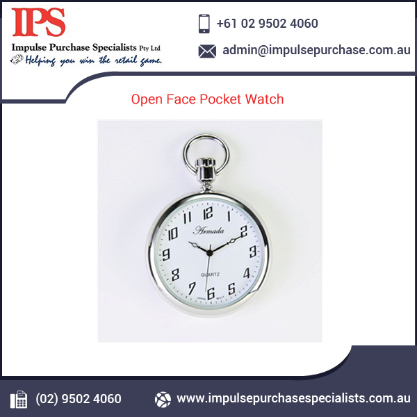 Open Face Pocket Watch in Dark Gift Box at Wholesale Price