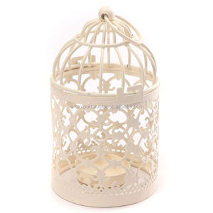white bird cage metal candle lanterns