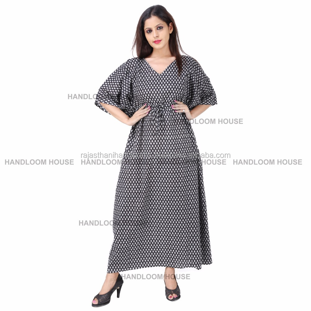 Indian Long Kaftan Dress Cotton Boho Maxi Plus Size Women Caftan Top Dress Gown