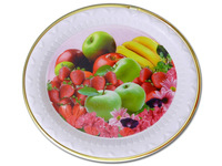 "TRAY ROUND W/GOLD TRIM FRUIT DESIGN 10.4 "" DIA, #12188"